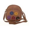Envie Faux Leather Embellished Brown Zipper Closure Crossbody Bag