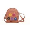 Envie Faux Leather Embellished Peach Zipper Closure Crossbody Bag