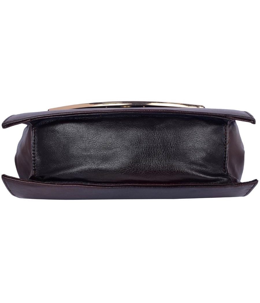 Aliado Faux Leather Black Magnetic Snap Closure Sling Bag