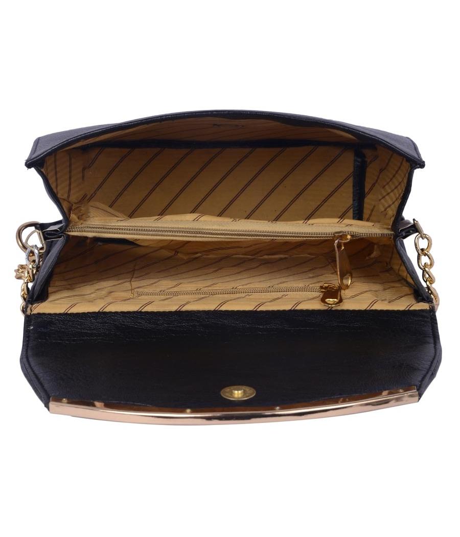 Aliado Faux Leather Black Magnetic Snap Closure Sling Bag