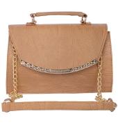 Aliado Faux Leather  Beige Magnetic Snap Closure Sling Bag