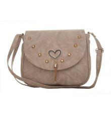 Envie Faux Leather Solid Beige Magnetic Snap Sling Bag