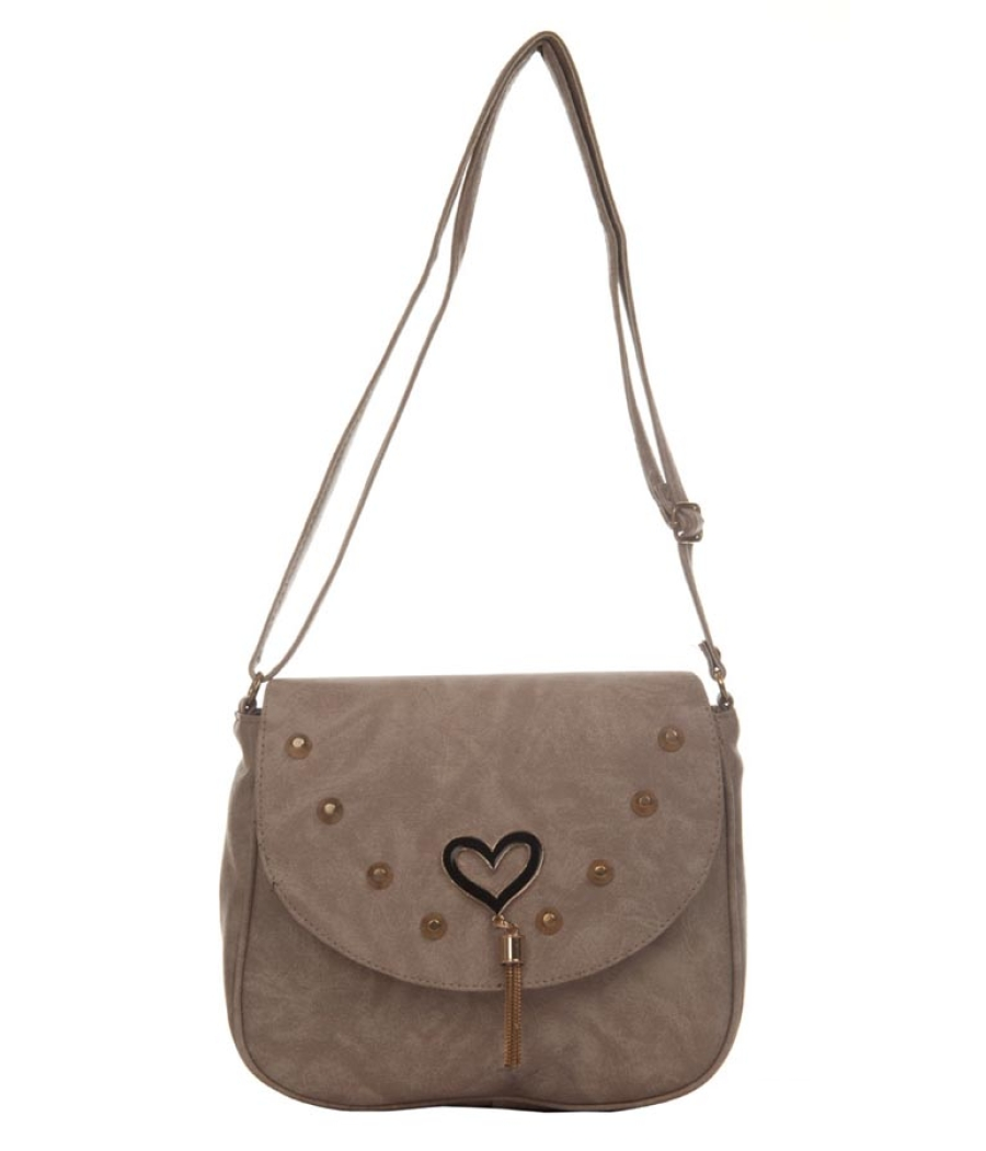 Envie Faux Leather Solid Beige Magnetic Snap Sling Bag