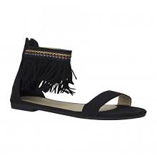Estatos Suede Leather Open Toe Ankle Fringed Strap Zip Closure Black Flat Sandals for Women