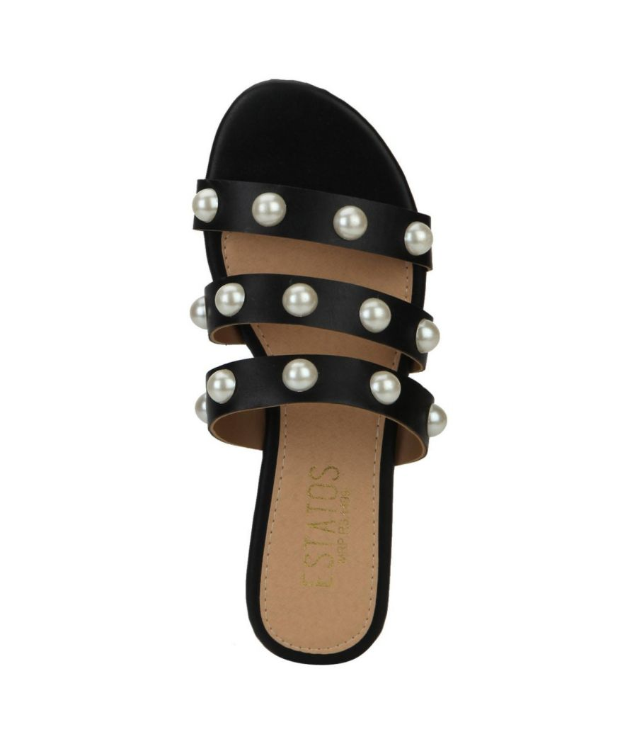 Estatos Black Colour Multi Strap Open  Toe Casual Flats