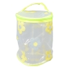 Aliado PVC transparent Cylendrical Zipper with Yellow and Grey embroidery cosmetic bag/pouch/cover