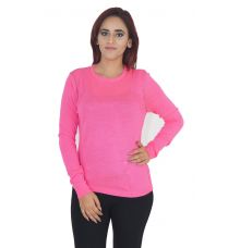 Limited Stretch Knit Plain Solid Magenta Full Sleeves Round Neck Casual Top