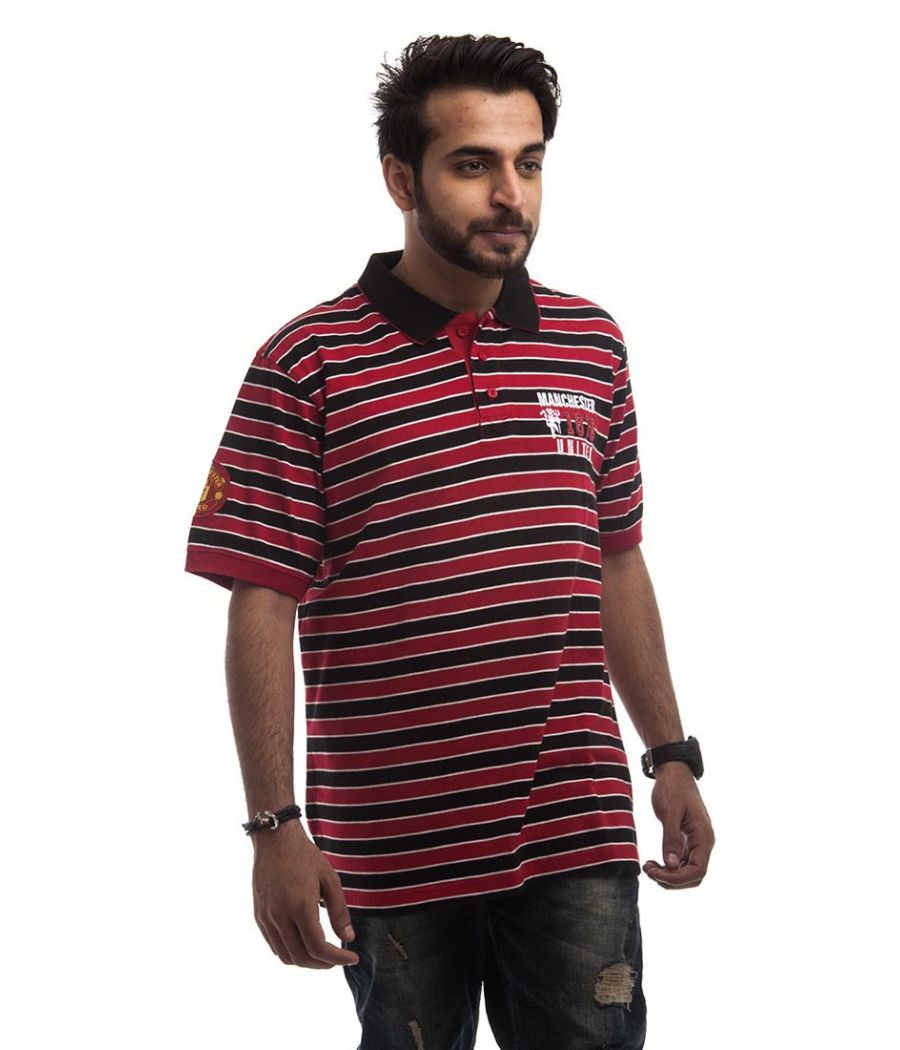 Manchester Polycotton Plain Striped Red, White & Black Half Sleeves T-shirt