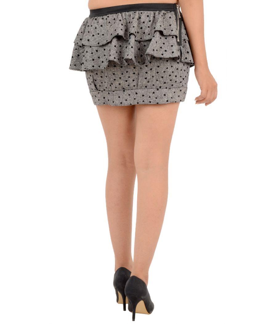 River Island Heart Printed Peplum Mini Grey Skirt