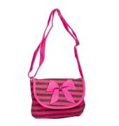 Envie Pink & Grey Striped Pattern Zipper Closure Sling Bag