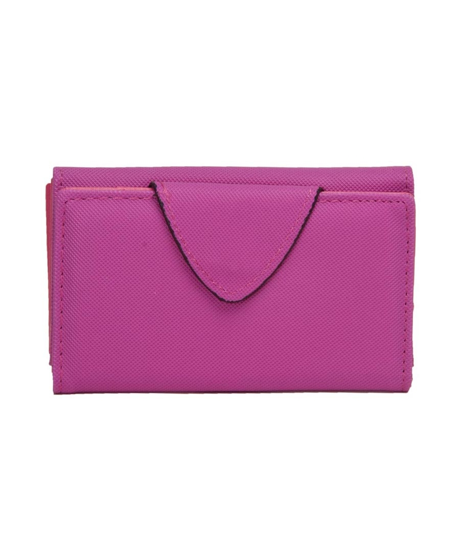 Envie Faux Leather Solid Magenta Magnetic Snap Clutch for Women