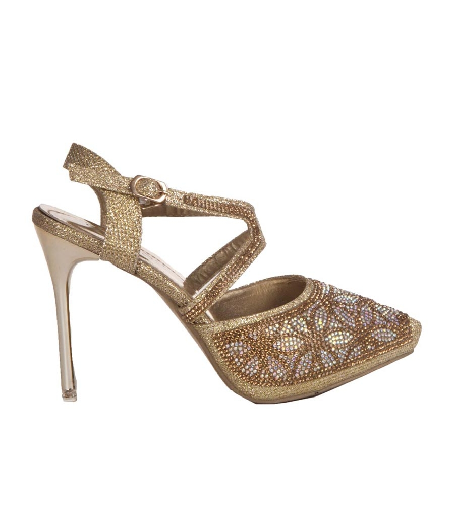 MCS Synthetic Leather Golden Ankle Strap Buckle Closure Party Heels