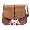 Envie Faux Leather Solid Brown Magnetic Snap Crossbody Bag