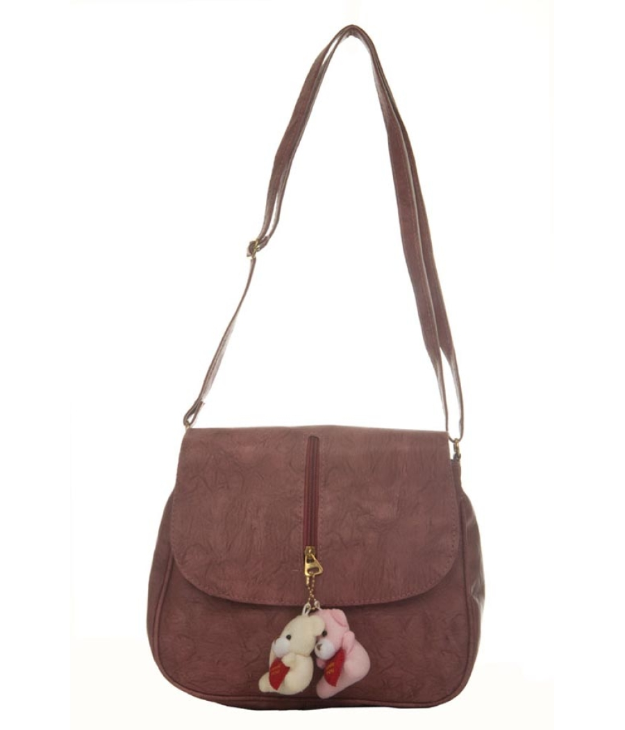 Envie Faux Leather Solid Magenta Magnetic Snap Crossbody Bag