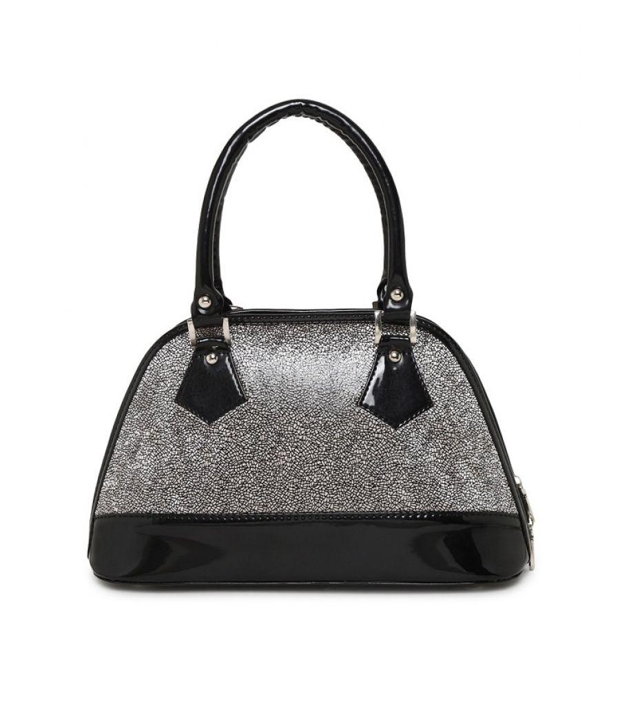 Aliado Faux Leather Black and Silver Zipper Closure Handbag
