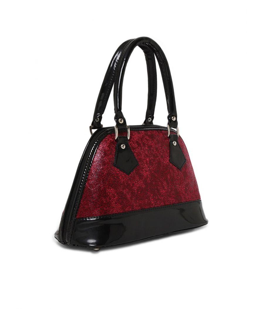 Aliado Faux Leather Maroon Zipper Closure Handbag