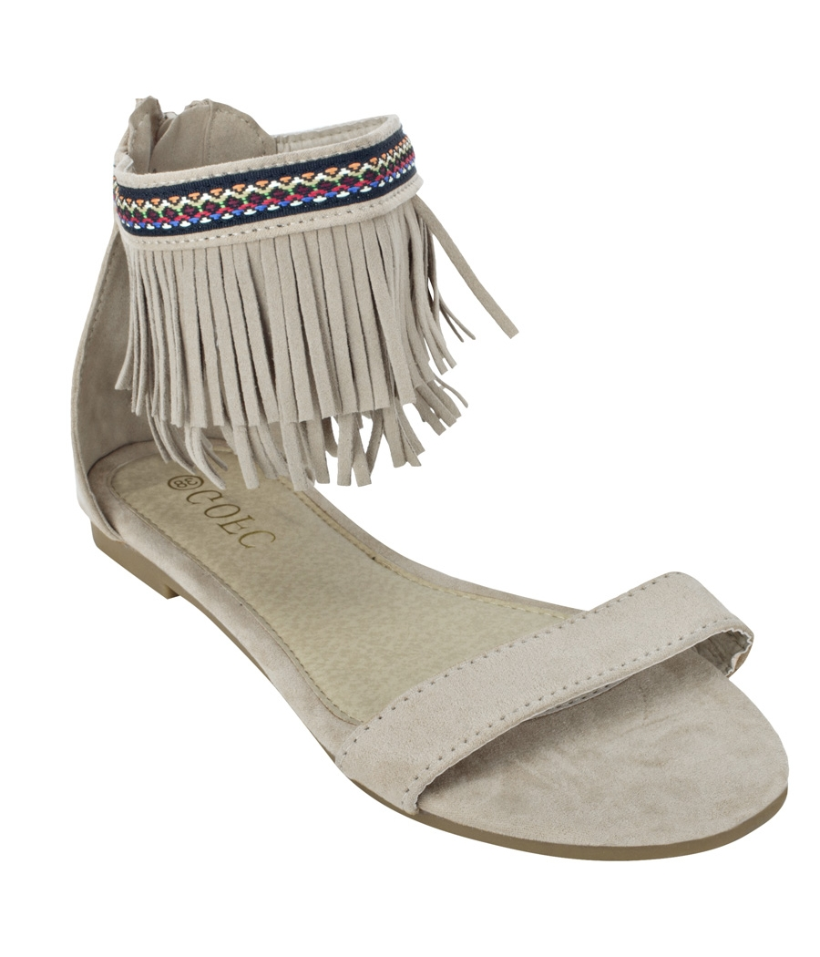 Estatos Suede Leather Open Toe Ankle Fringed Strap Zip Closure Beige Melange Flat Sandals for Women
