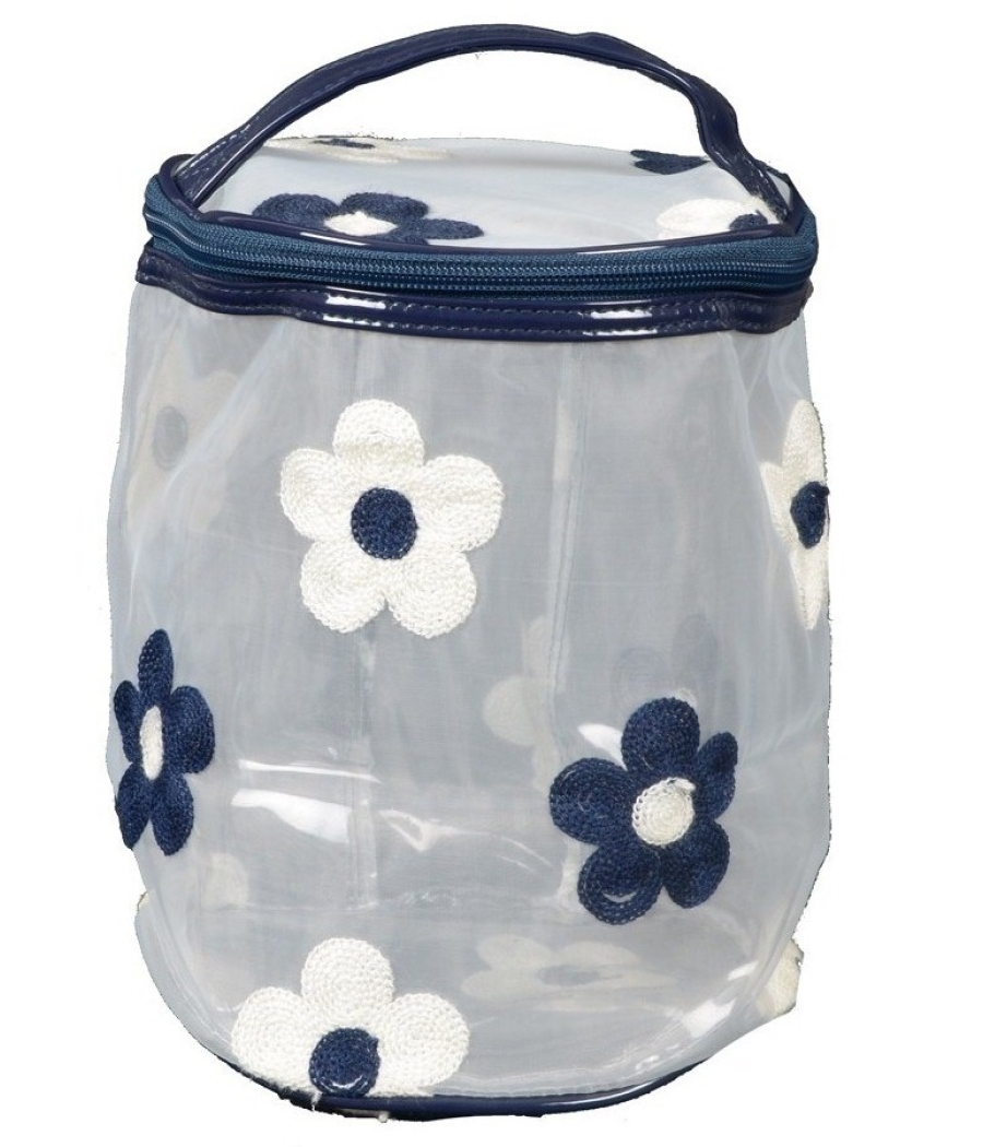 Aliado PVC transparent Cylendrical Zipper with Blue and White embroidery cosmetic bag/pouch/cover