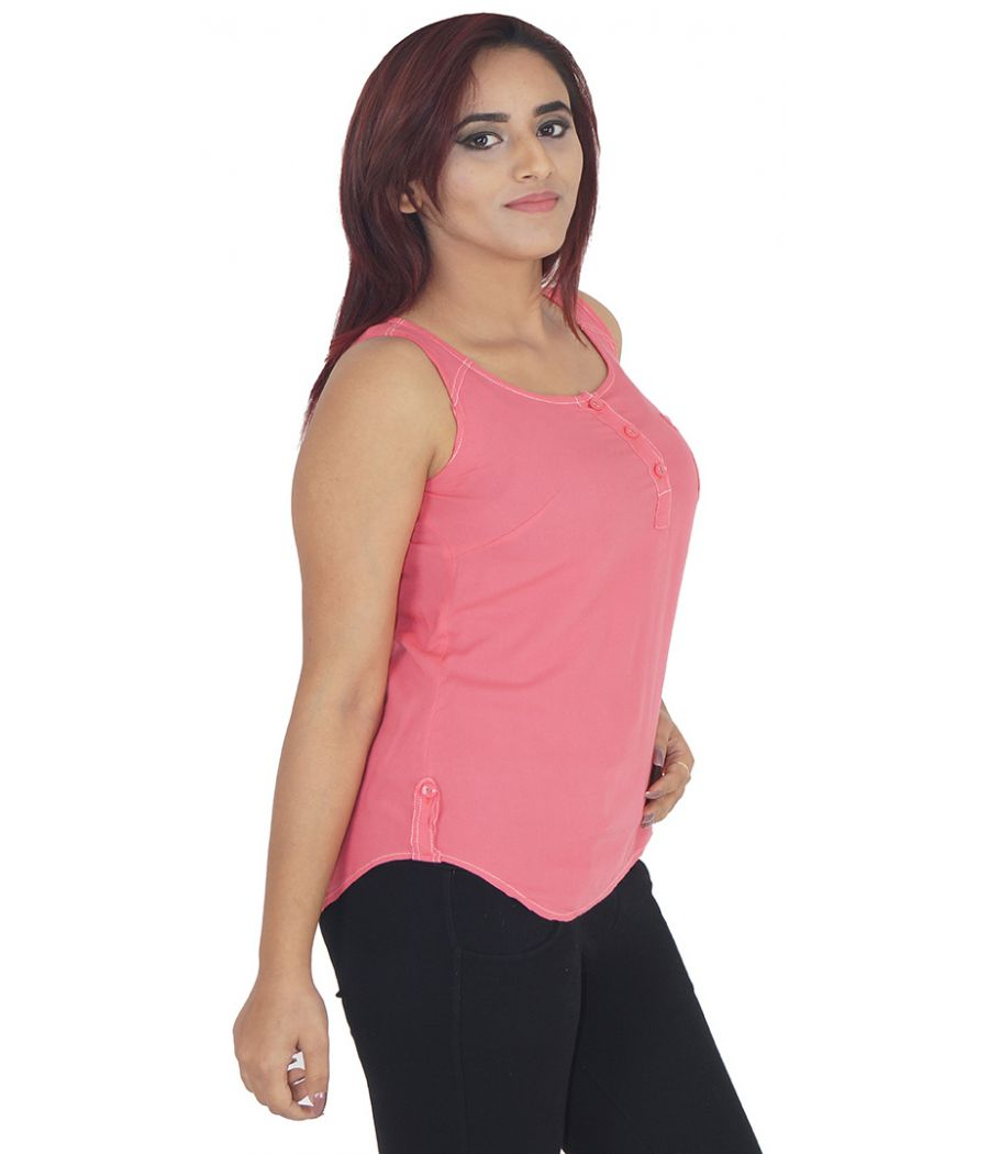 AND Rayon Plain Solid Pink Sleeveless Casual Top