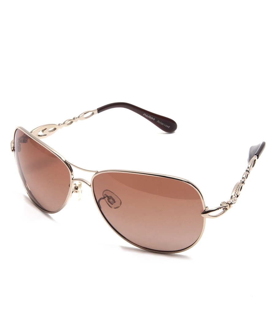 Parim Brown Aviators With Golden Frame