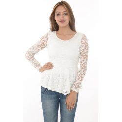 ZANZEA Collection White Lace Peplum Top