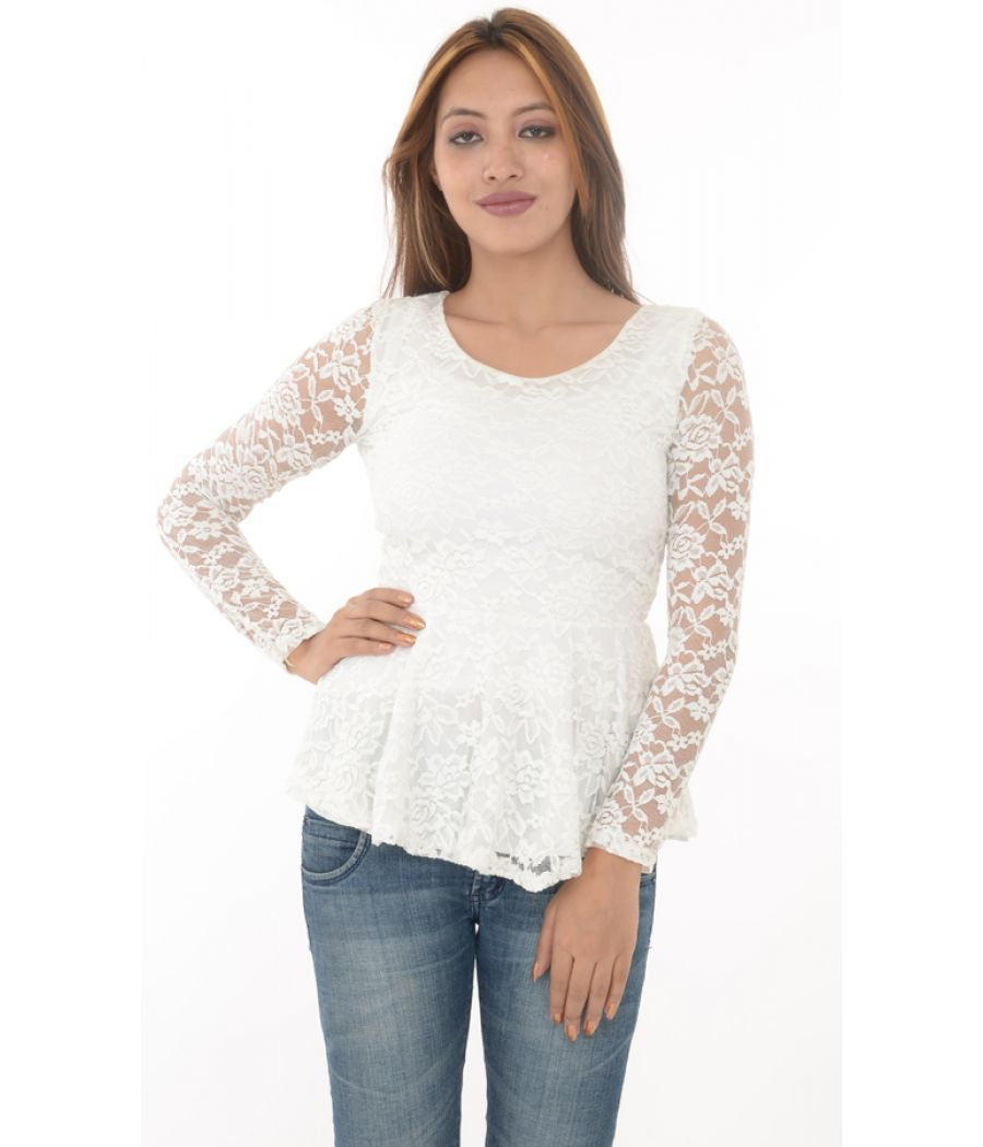 ZANZEA Collection White Lace Peplum Top