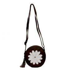 Envie Faux Leather Embellished Coffee Brown Zipper Closure Sling Bag