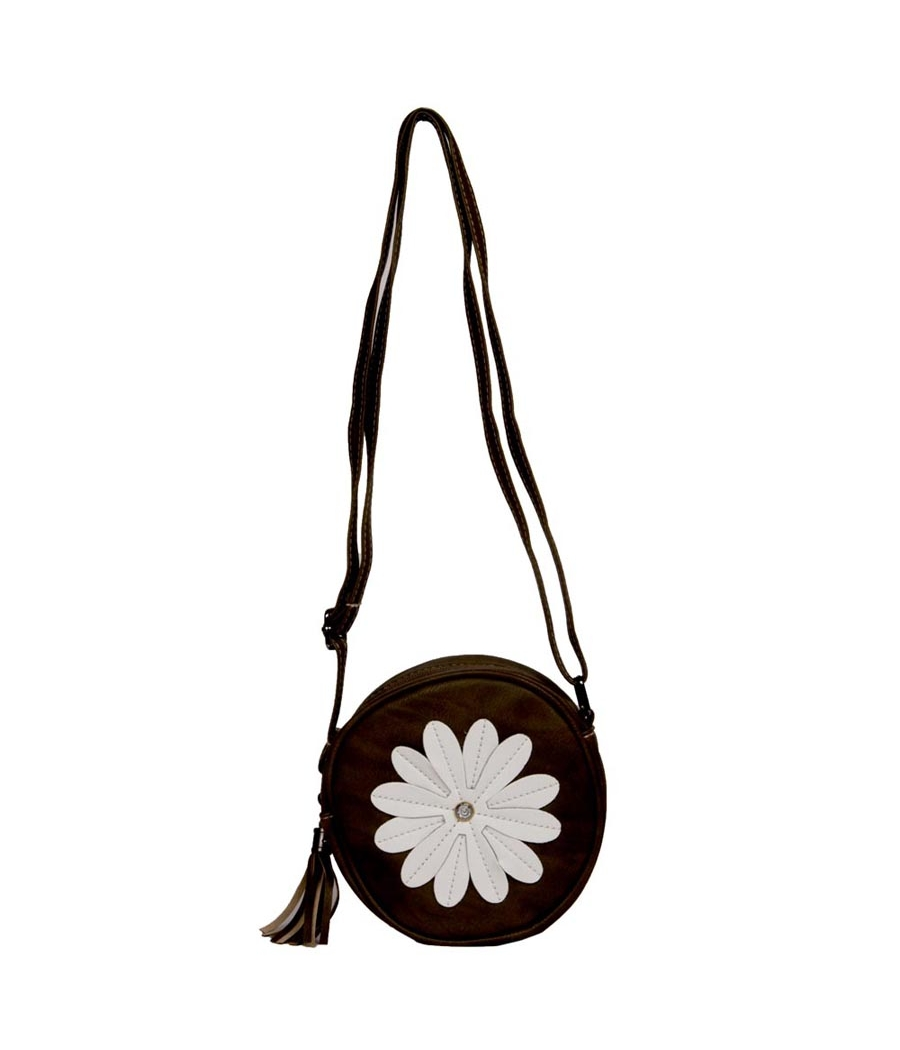 Envie Faux Leather Embellished Coffee Brown Zipper Closure Sling Bag
