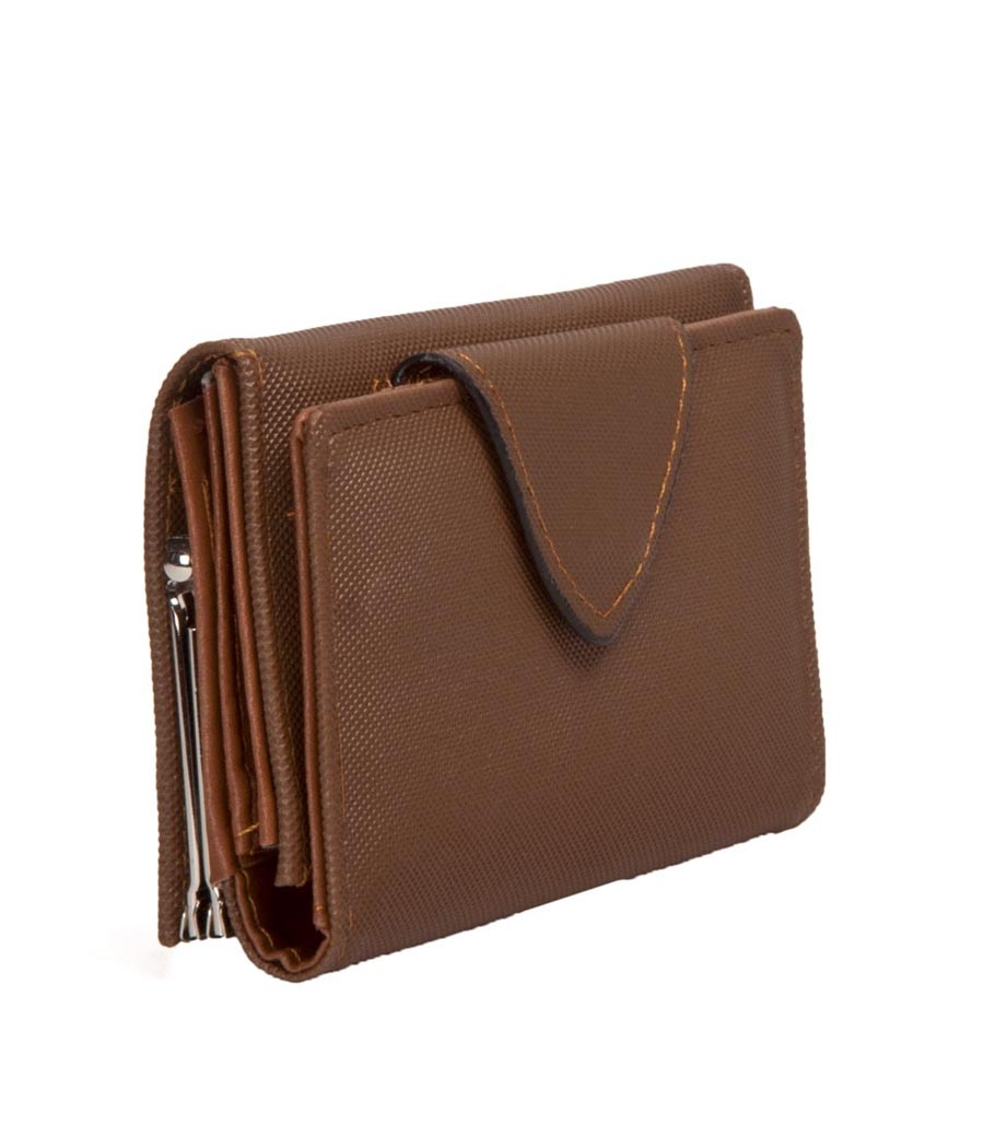 Envie Faux Leather Solid Brown Magnetic Snap Clutch for Women