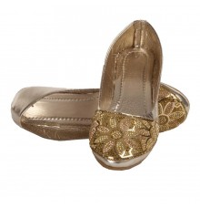 MCS Synthetic Leather Gold Coloured Broad Toe Flat Heels Party Bellies