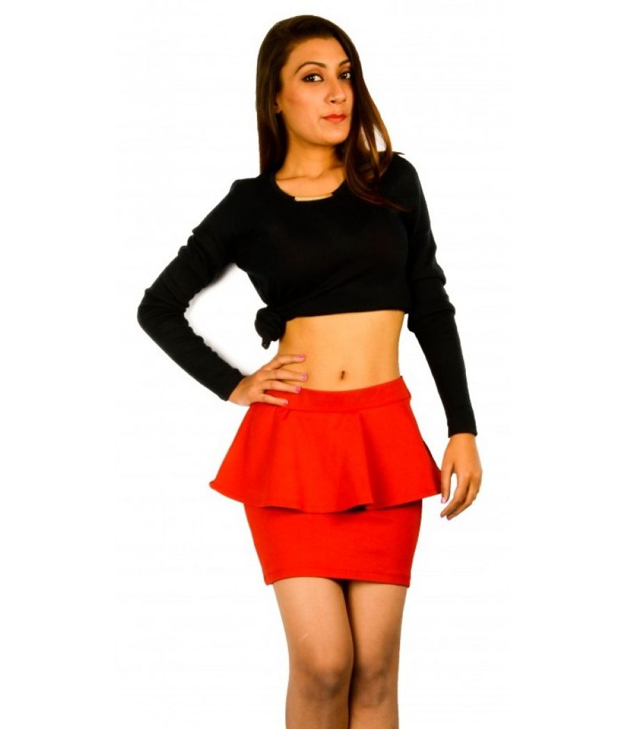 Zara Red Peplum Skirt
