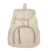 Aliado Faux Leather Cream Coloured Zipper Closure Backpack
