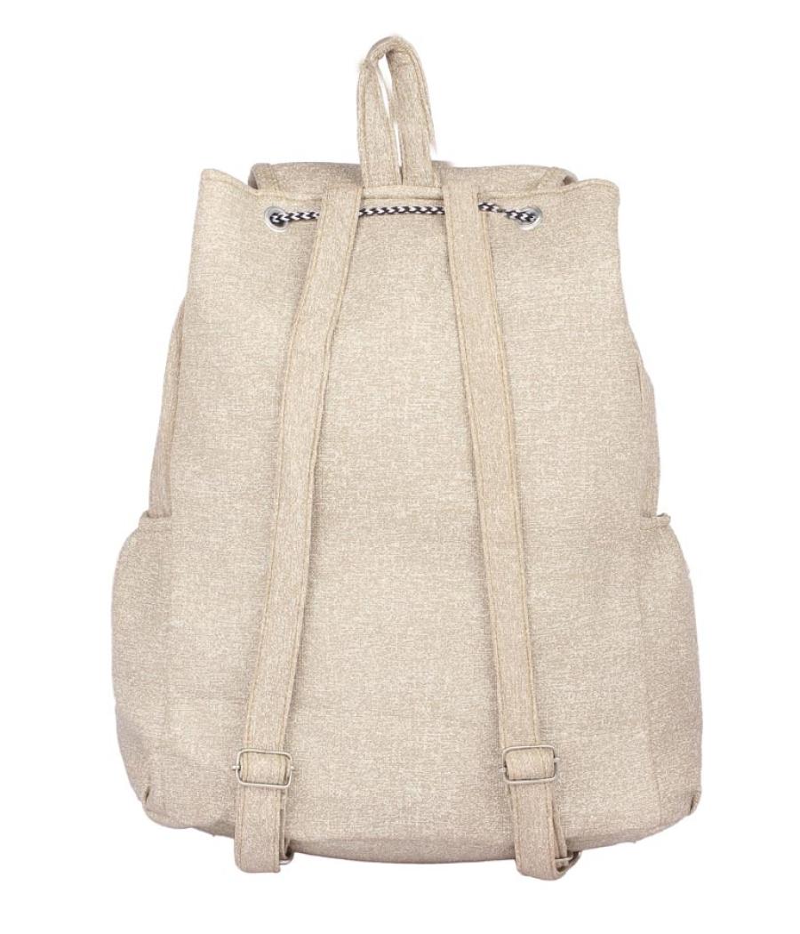 Aliado Faux Leather Cream Coloured Zipper Closure Backpack