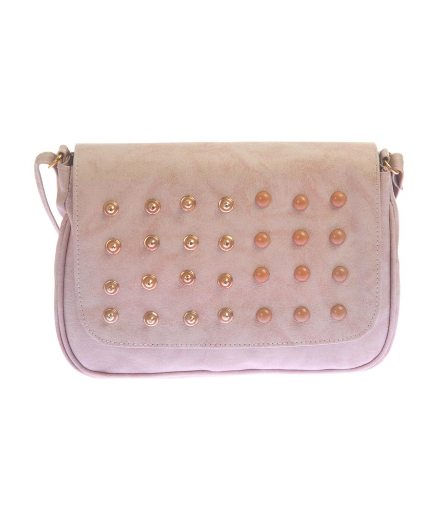 Envie Faux Leather Beige Coloured Magnetic Snap Embellished Sling Bag