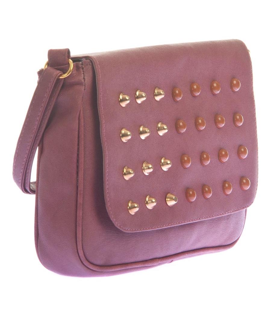 Envie Faux Leather Magenta Magnetic Snap Embellished Sling Bag