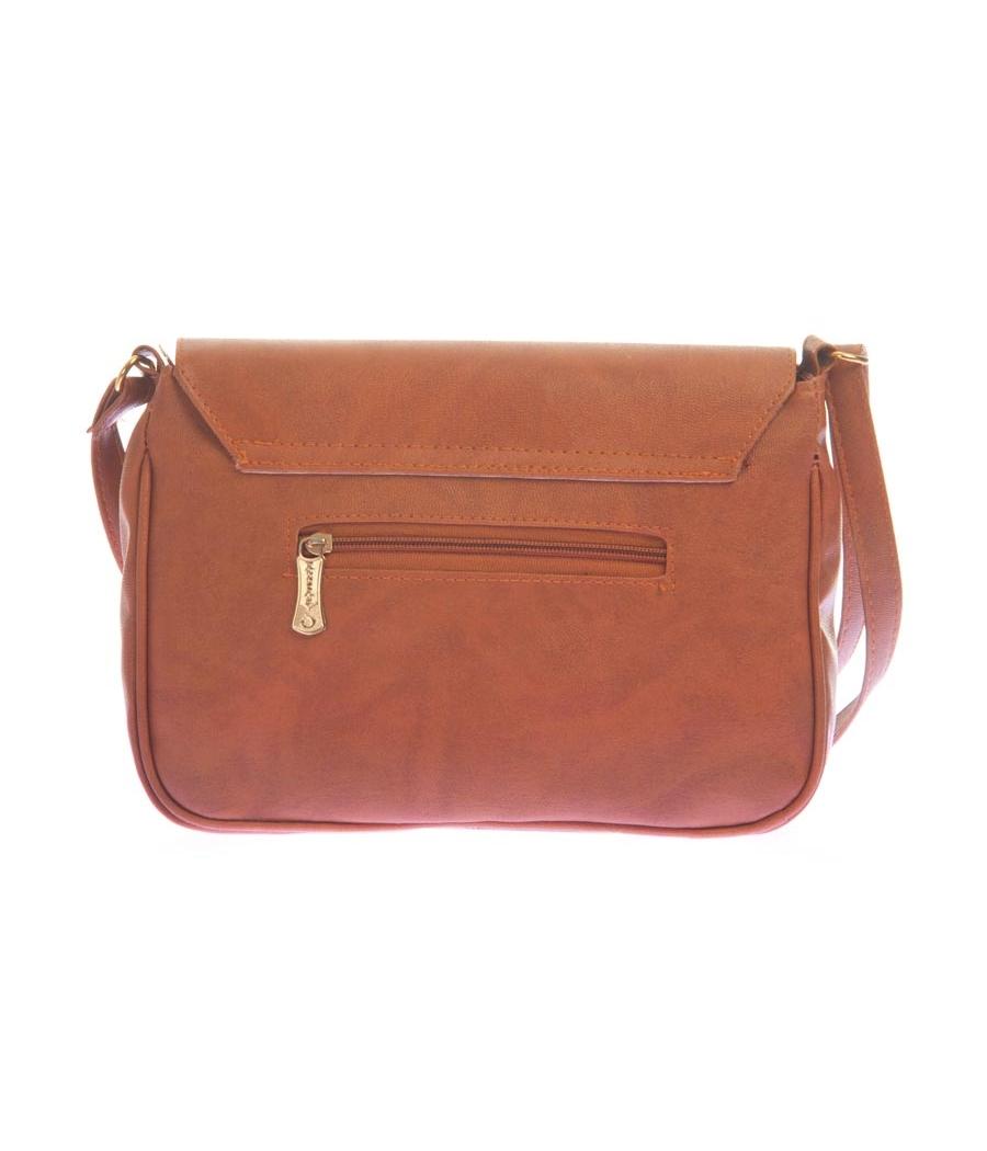 Envie Faux Leather Brown Magnetic Snap Embellished Sling Bag
