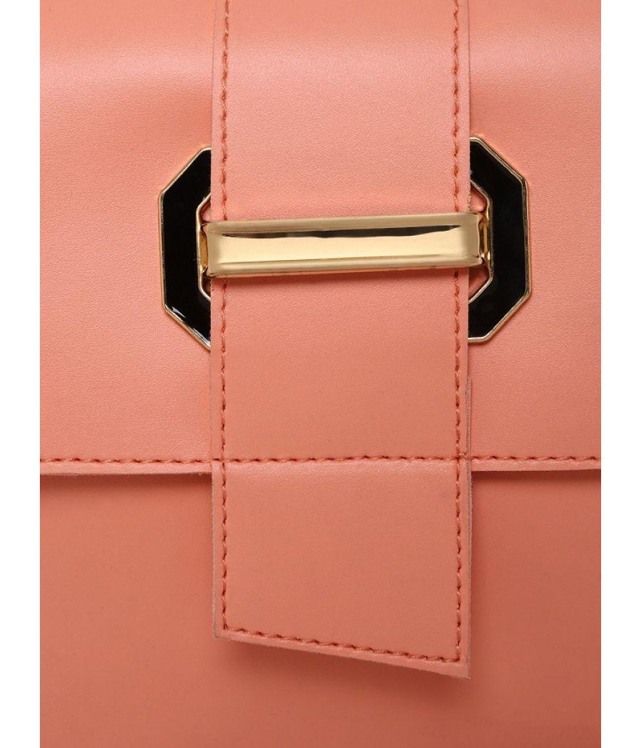 Aliado Faux Leather Peach Tuck Lock Closure Sling Bag