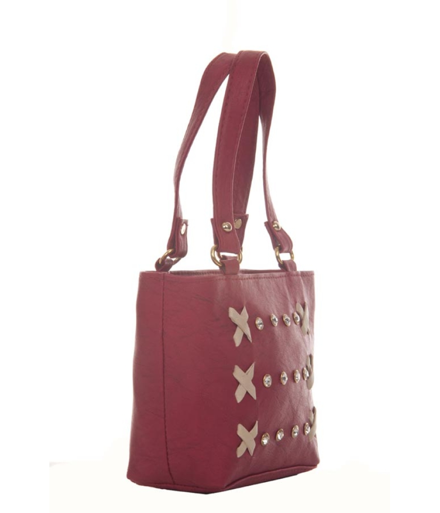 Envie Faux Leather Magenta Zipper Closure Sling Bag for Women