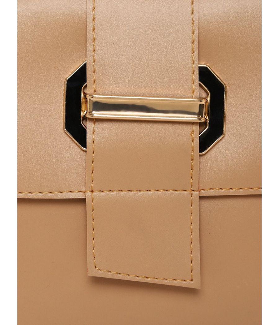 Aliado Faux Leather Beige Tuck Lock Closure Sling Bag