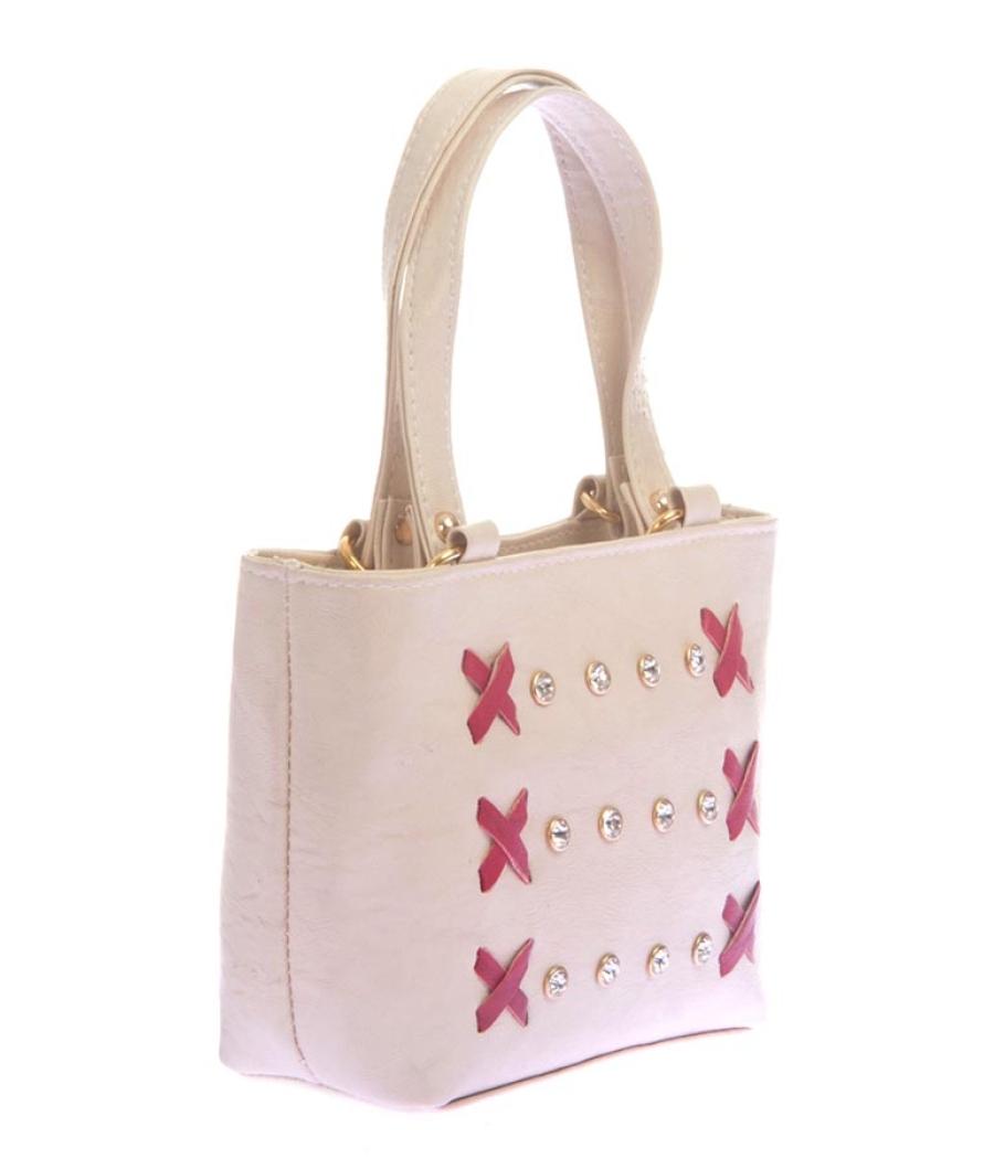 Envie Faux Leather Cream Coloured Zipper Closure Embellished Handbag
