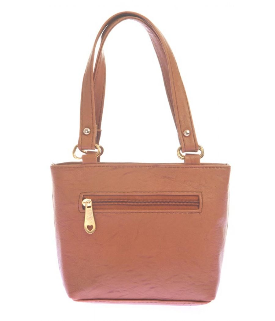 Envie Faux Leather Brown Coloured Zipper Closure Embellished Tote Bag