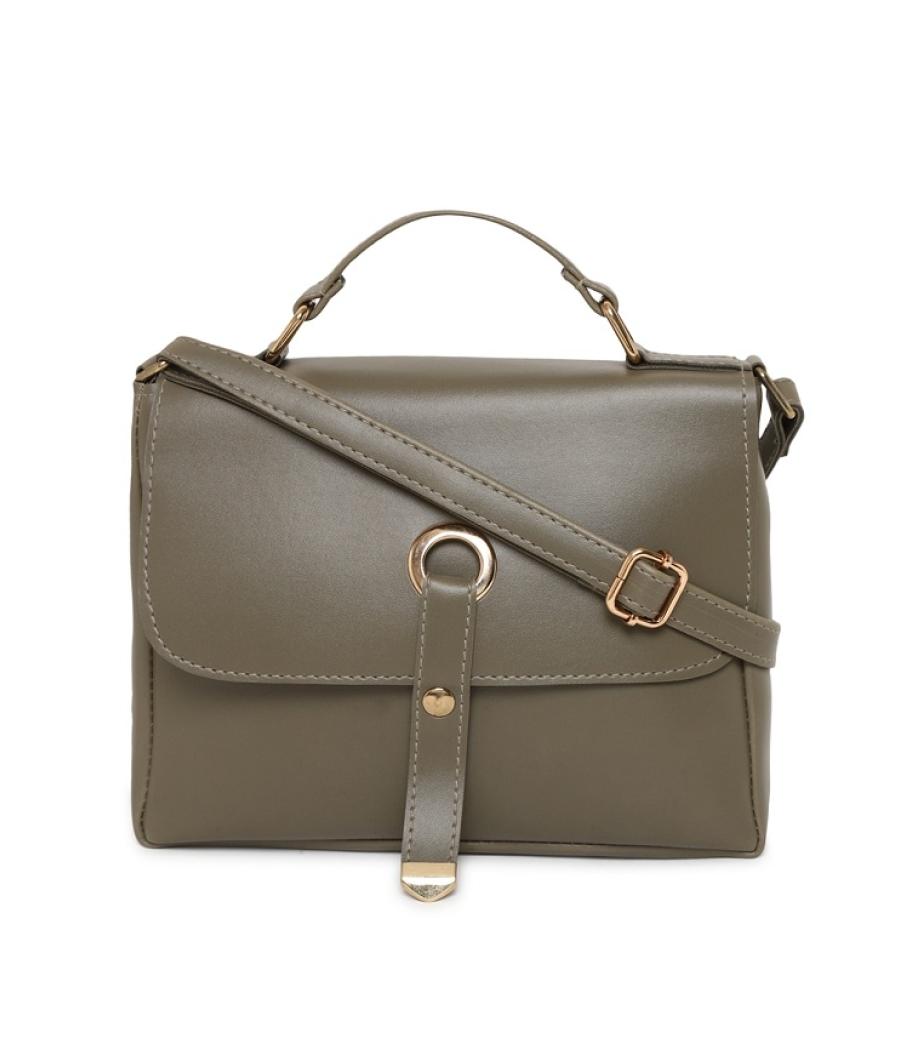 Aliado Faux Leather Olive Tuck Lock Closure Sling Bag