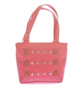 Envie Faux Leather Solid Peach Zipper Closure Embellished Handbag