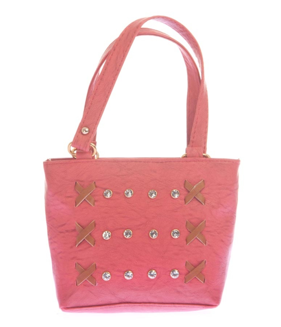 Envie Faux Leather Solid Peach Zipper Closure Embellished Handbag