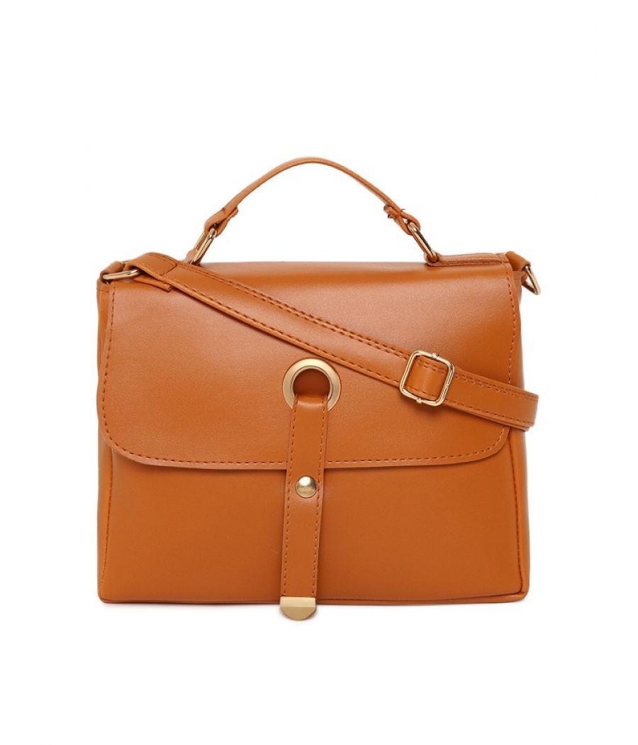 Aliado Faux Leather Brown Tuck Lock Closure Sling Bag