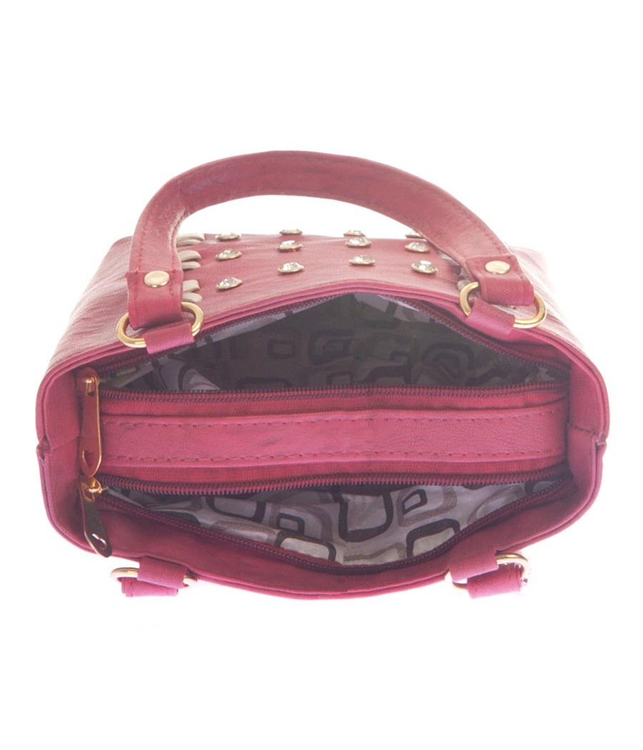 Envie Faux Leather Red Coloured Zipper Closure Embellished Handbag