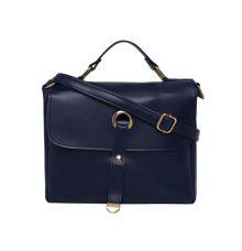 Aliado Faux Leather Navy Blue Tuck Lock Closure Sling Bag