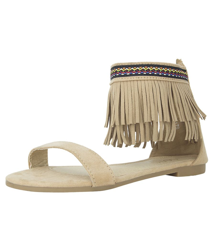 Estatos Suede Leather Open Toe Ankle Fringed Strap Zip Closure Camel/Brown Flat Sandals for Women