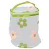 Aliado PVC transparent Cylendrical Zipper with Green and Peach embroidery cosmetic bag/pouch/cover
