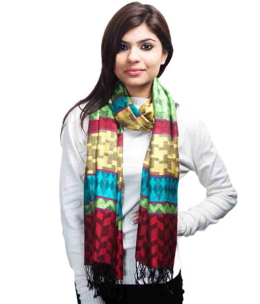 Multi Coloured Modal Silk Stole